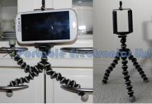 Portable flexible leg tripod + LARGE camera/phone holder